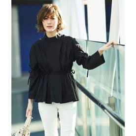 サイドリボンペプラムシャツ (ブラック)
