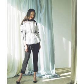 サイドリボンペプラムシャツ (ホワイト×ブラック)