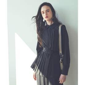 プリーツロングシャツ&パンツセットアップ (ブラック×ブラック)