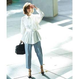 プリーツロングシャツ&パンツセットアップ (ホワイト×アクアブルー)
