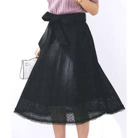 ブロックフレアーレーススカート (ブラック)