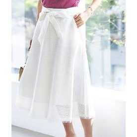 ブロックフレアーレーススカート (ホワイト)