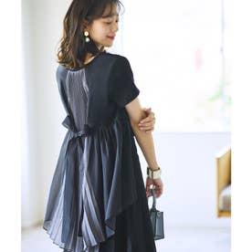 バックシャンコントラストTシャツ (ブラック×ダークグレー)