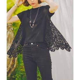 イレギュラーヘムエンブロイダリーレースTシャツ (ブラック)