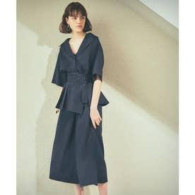 コルセットベルト付シャツジャケットパンツセットアップ (ネイビー)