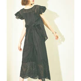オーガンジーフラワー刺繍パンツセットアップ (ブラック)