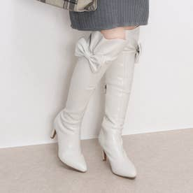 リボン付きロングブーツ 112 (アイボリー)
