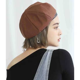 リネンライクパイピングボリュームベレー帽(ブラウン)