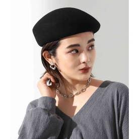 ウールアシンメトリーベレー帽(ブラック)