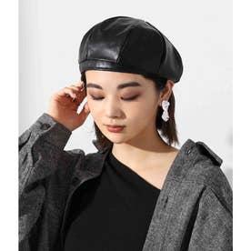 エコレザーベレー帽(ブラック)