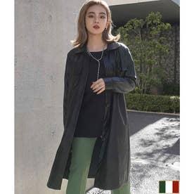 フェイクレザーロングシャツジャケット(ブラック)