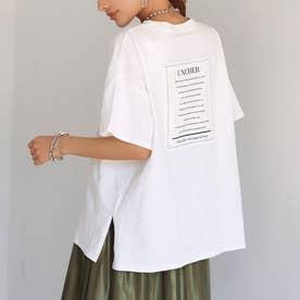 バック貼り付けプリントビッグ天竺Tシャツ(ホワイト)