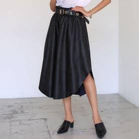 ベルト付サイドオープンドレープエコレザースカート(ブラック)