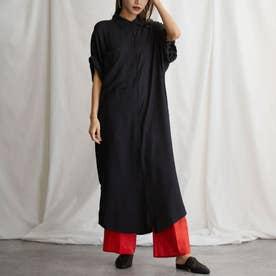ワンポケットデザインロングシャツワンピース(ブラック)