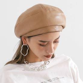 エコレザー切替デザインベレー帽(ベージュ)