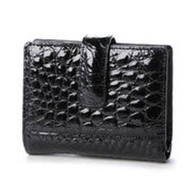 【日本製】 クロコダイル二つ折り財布 (ブラック)