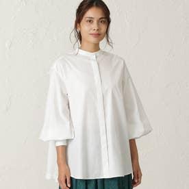 ◆◆GIZA88 高密度綿ブロード スタンドカラーブラウス (ホワイト)
