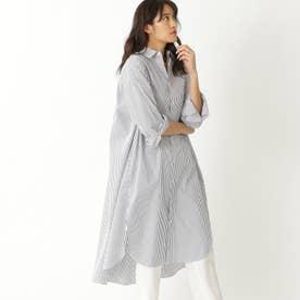 リラックスシルエットシャツドレス (ホワイト/ブルー)