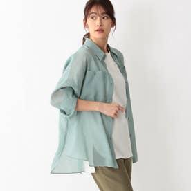 リネンライクシアーシャツ (グリーン)