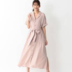 オープンカラーツイルシャツドレス (ピンク)