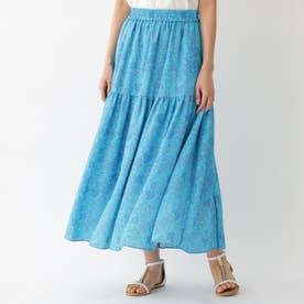 アラベスクプリントスカート (ブルー)