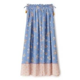 ヴィンテージフラワーパネルプリントスカート (ブルー)