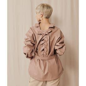 バックレースアップCPOシャツジャケット (ピンク)
