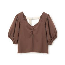 バックベルトスクエアネックTシャツ (ブラウン)