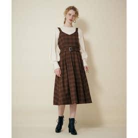 ベルトツキチェックジャンパースカート (キャメル)