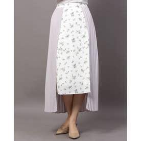 プリーツキリカエフラワースカート (オフホワイト)