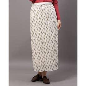 シフォンフラワーランダムプリーツスカート (オフホワイト)