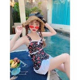 SR retro flower swimwear (ブラック)【返品不可商品】