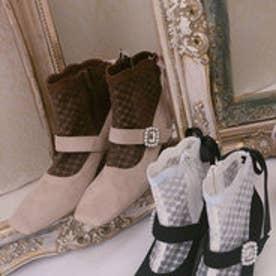 EV lace bijou boots (ベージュ)