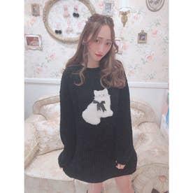 HB meow knit O/P (BLK)