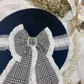 SX check ribbon beret (ブラック)