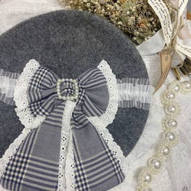 SX check ribbon beret (グレー)