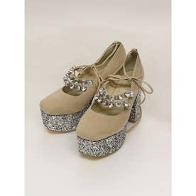 EV bijou velour shoes (ベージュ)