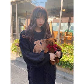 HB twins bear knit O/P (ブラック)