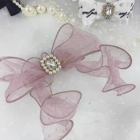 SX ribbon tulle barrette (ピンク)