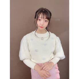 HB flower bijou knit (ホワイト)