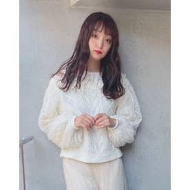 DR set collar knit TOPS (ホワイト)