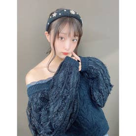DR set collar knit TOPS (ブラック)
