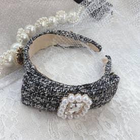 SX elegant tweed カチューシャ (ブラック)