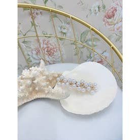 DC flower pearl barrette (ホワイト)