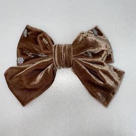 SX velour big ribbon (ベージュ)