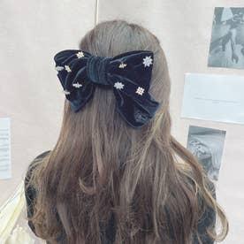 SX velour big ribbon (ブラック)