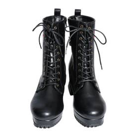刺繍厚底ブーツ (ブラック)