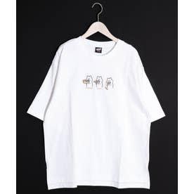 3コマKUMA刺繍Tシャツ (オフホワイト)