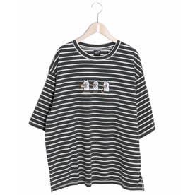 3コマKUMA刺繍Tシャツ (チャコールグレー)