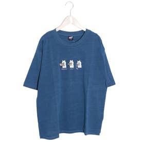3コマKUMA刺繍Tシャツ (ブルー)